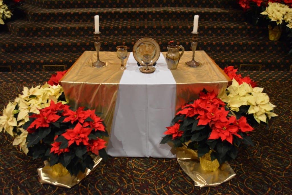 poinsettias & communion table